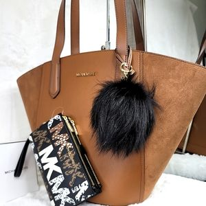🔥 Michael Kors 3P Set Matching Designer Purse Bag Wallet Charm Pom NWT Suede!